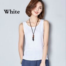 Lady Linen Tank Top Camisole Loose Plain Sleeveless Shirt Blouse Vest Casual Tee