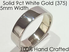 9ct 375 Solid White Gold Ring Wedding Engagement Friendship Flat Band 5mm