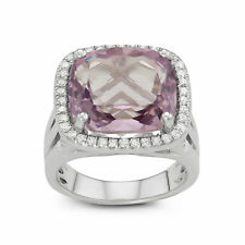 Sterling Silver Large Cushion Cut Amethyst Pave CZ Ring Size 6, 7, or 8