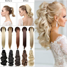 Lady High Ponytail Claw Jaw Clip in Pony Tail Natural Hair Extensions Curly Wavy