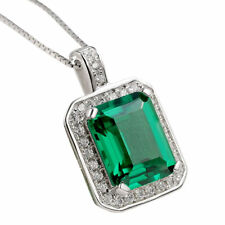 """Newshe Pendant 18"""" Chain Necklace 3Ct 925 Sterling Silver Green Emerald Sapphire"""