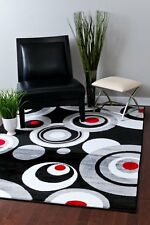 RUGS AREA RUG CARPET FLOORING 2529 BLACK ABSTRACT CARPET LARGE NEW AREA RUG