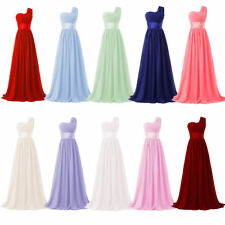 One Shoulder Long Evening Prom Dress for Women's Chiffon Wedding Party Gowns