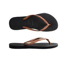 Womens  Havaianas Slim Metal logo Black Copper Gold Sandals