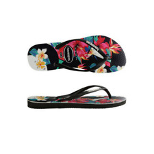 Womens  Havaianas Slim Floral Black Sandals