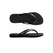 Womens  Havaianas Slim Metal logo Black Silver Sandals