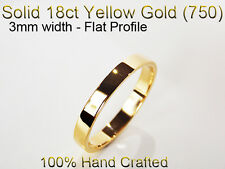 18ct 750 Solid Yellow Gold Ring Wedding Friendship Friend Flat Band 3mm