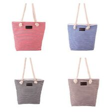 Casual Striped Beach Shoulder Bag Canvas Shopper Tote Large Capacity Handbag