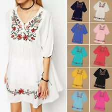 Mini Dress Women 70s Vintage Ethnic Mexican Embroidered Pessant Hippie Boho Chic