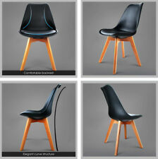 2/4 x Retro Replica Eames Dining Chairs Eiffel PU Padded Beech Cafe Kitchen DSW
