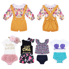 Toddler Baby Girls Floral Clothes Outfits Birthday Party Summer Dress Pants Set