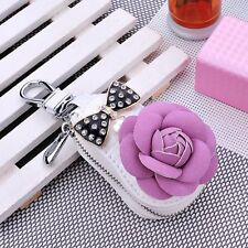 High-grade leather Car Remote Key Chain Holder Case Bag Bling Bowknot Key Cover