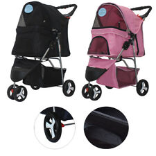 New Pet Stroller Cat Dog 3 Wheels Walk Jogger Travel Folding Carrier Black/Pink