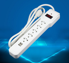 Surge Protector Electrical 2 USB Power Strip AC Plug Socket Extension 5 Outlet