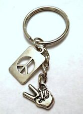 PEACE sign KEY CHAINS - 2 style choices US SELLER FREE SHIPPING