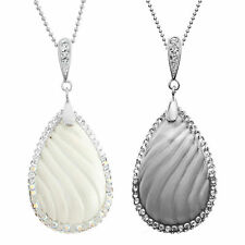 Rhodium Plated Silver Teardrop Pendant Necklace, Made with Swarovski Crystals