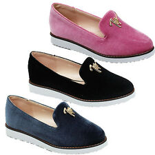 WOMENS CASUAL LOW WEDGE HEEL CASUAL SLIP ON LOAFERS PUMPS LADIES SHOES SIZE 3-8