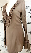 SACRED THREADS BROWN RUFFLED LACE BELL SLEEVE BOHO WRAP-TIE LAYERING BLOUSE TOP