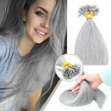 1g/s Glue Nail U Tip Pre-Bonded Keratin Remy Human Hair Extensions Gray color