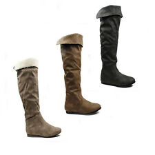 WOMENS SLOUCH FASHION FLAT KNEE HIGH CUFF ZIP RIDING BOOTS LADIES SHOES SIZE 3-8