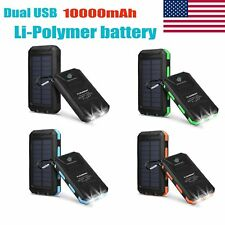 10000mAh Solar Power Bank External Backup Battery Solar Panel Charger Dual USB