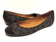 Coach Women's SZ 8 B Leather Cap Toe Slide Flats Loafer Smoke Shoes Oxfords NEW
