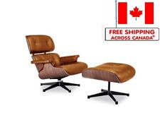 Modern Lounge Chair and Ottoman Aniline Leather Mid Century Design