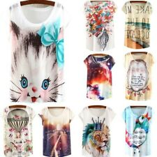 Summer Womens Short Sleeve Loose  Casual Animal/Floral Print T-shirt Tops Blouse