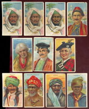 1910 T113 AMERICAN TOBACCO TYPES OF NATIONS, LOT OF 11 (9 DIFFERENT), VG-EX