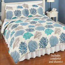 3 PC Teal Taupe Blue Sea Coral Coastal Reversible Comforter Set Full Queen King