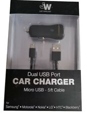 Just Wireless Micro-USB 5ft Cable & Dual USB Car Charger for Android Smartphones