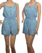 Ladies Blue Denim Playsuit Light Wash Shorts Womens Jumpsuit All-in-one