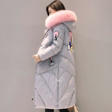 Hooded Duck Down Parka Long Winter Fur Womens Coat Ladies Jacket Warmer Outdoor