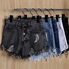 Womens Vintage Summer Ripped Denim Shorts High Waisted Stonewash Hotpants BS