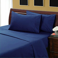 Navy Blue Solid 1000TC Soft Egyptian Cotton Complete Bedding Items UK All Sizes