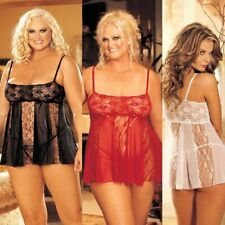 Plus Size Queen Black, Red or White Lace and Sheer Babydoll Lingerie