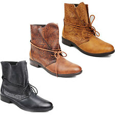 WOMENS CASUAL LOW BLOCK HEEL LACE UP ANKLE BOOTS LADIES SHOES NEW SIZE 3-8