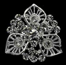 SILVER FLOWER WITH DIAMANTES FAUX CRYSTAL BROOCH BROACH LAPEL PIN LEAF CLOVER V4