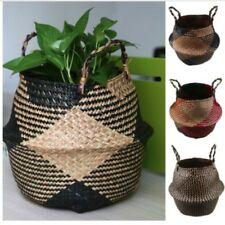 Foldable Seagrass Belly Basket Storage Plant Pot Nursery Laundry Bags Home Decor