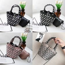 Women Rivet Stud Bucket Bag 2in1 Fashion Studded Shoulder Bag PU Leather Handbag