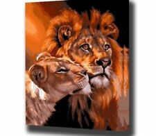 Framed Oil Painting By Numbers Animal Pictures Canvas For Living Room Wall Art H