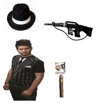 Mafia Boss Mens Gangster Set 4Pc Stag Do Party Hat, Suit T-Shirt Gun And Cigar
