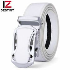 Belt Men Male Genuine Leather Strap White Automatic Buckle Belt