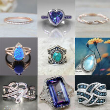Gorgeous 925 Silver Turquoise Women Jewelry Engagement Prom Gift Ring Sz6-10