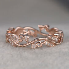 Classy Leaves Women 18K Gold Filled Wedding Engagement Band Ring Gift Sz6-10
