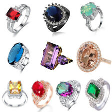 Women Shiny Party Queen Wedding Ring Fashion Gemstone Beauty Vintage Jewerly Hot