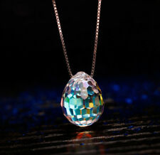 Fashion Crystal Teardrop Pendant Chain Necklace Woman 18K White Gold GP Necklace