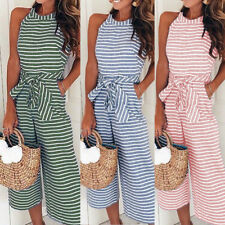 Talever Halter Playsuit Womens Striped Wide Leg Jumpsuit Lady Evening Party Pant