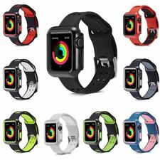 Silicone Cover + Watch Band iWatch Strap for Apple Watch Series 3 /2 /1 38/42mm