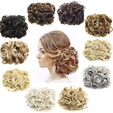 New Women Party Bun Piece Up Ponytail Curly Clip In Comb Hair Extensions Chignon
